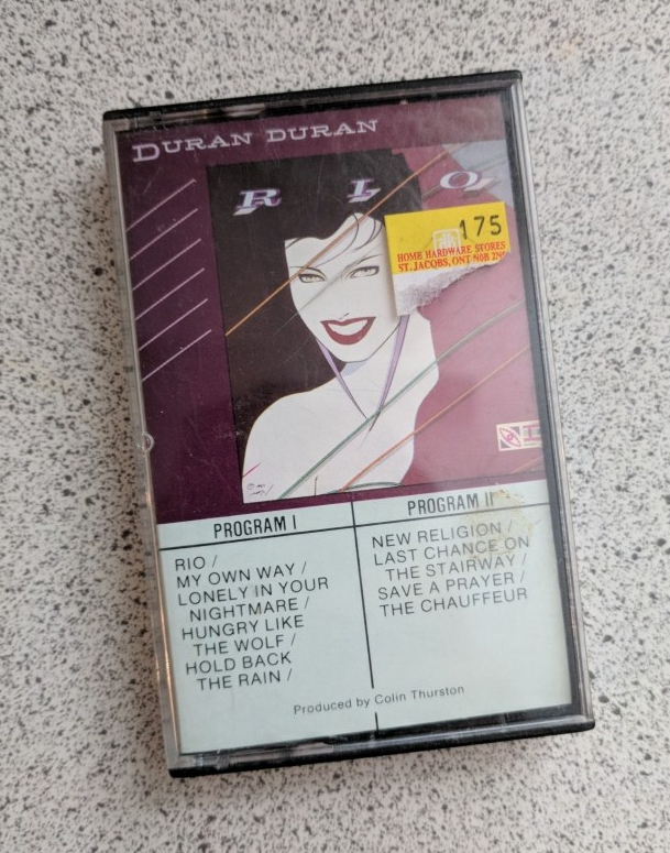 Duran Duran Rio cassette on speckled background