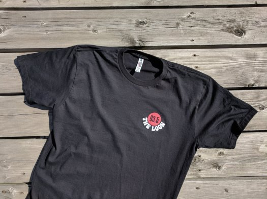 Front of shirt with 93.5 the loon logo