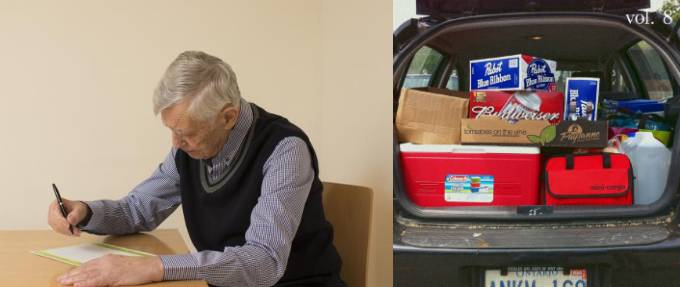 Old man making list beside packed car trunk