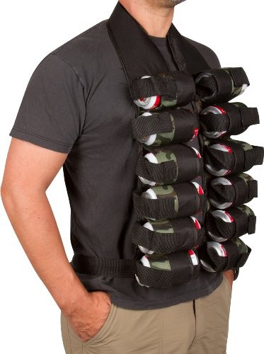 Man wearing beer drinking vest with hands in pockets