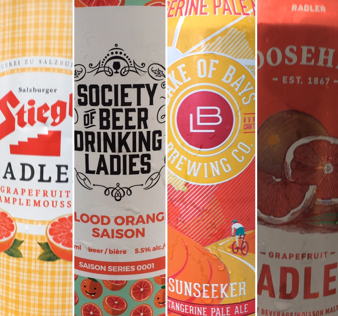Montage of four citrus beer cans