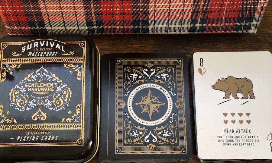 Decorative playing cards with outdoor facts and survival tips