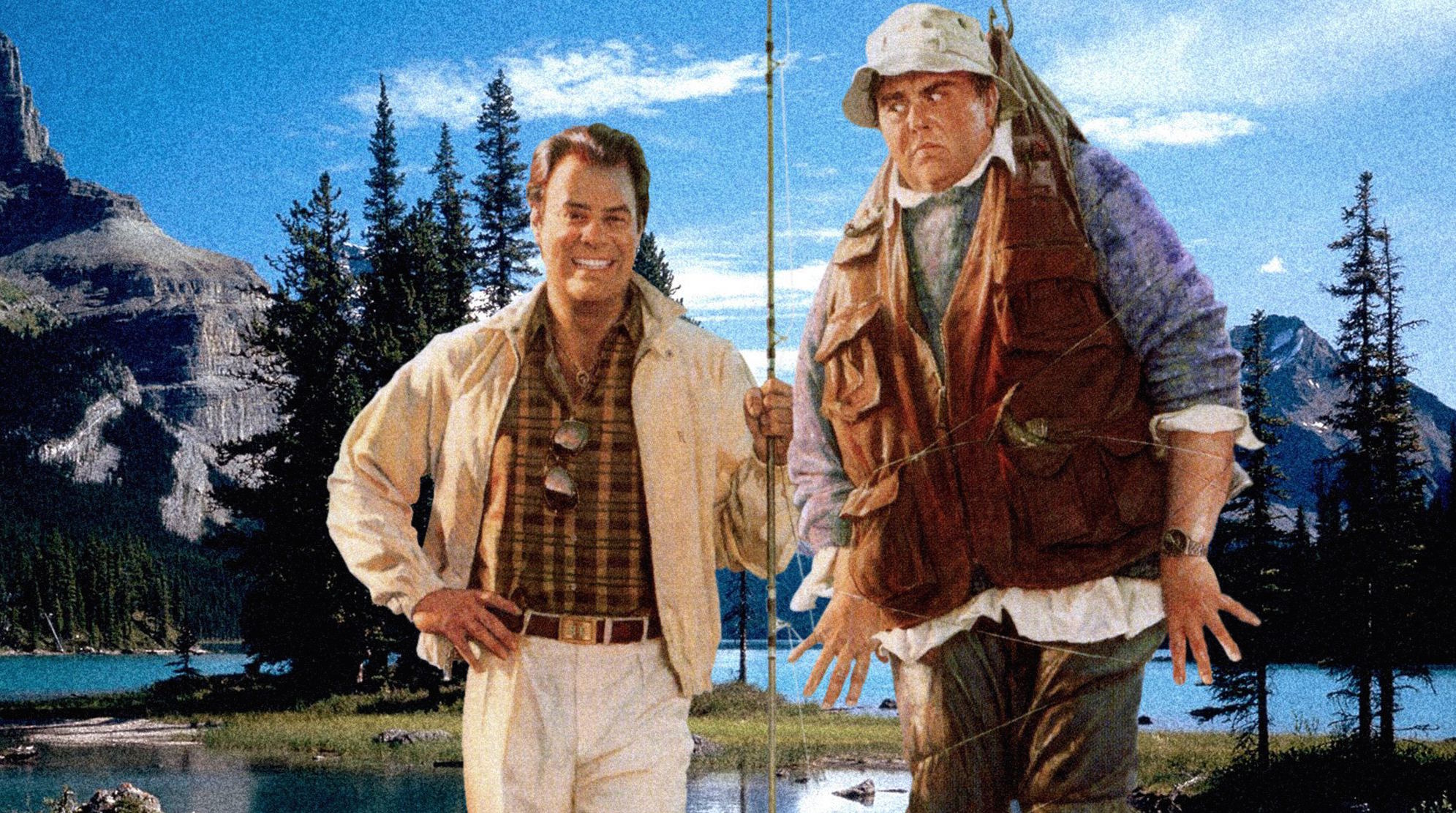 Illustration: Dan Aykroyd gleefully holding a fishing rod that has John Candy hooked and suspended who stares angrily at Dan.
