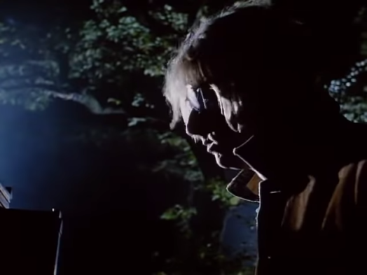 """Profile of Mark Hollis in sunglasses in Talk Talk 's """"Life's What You Make It"""" Video in the forest"""