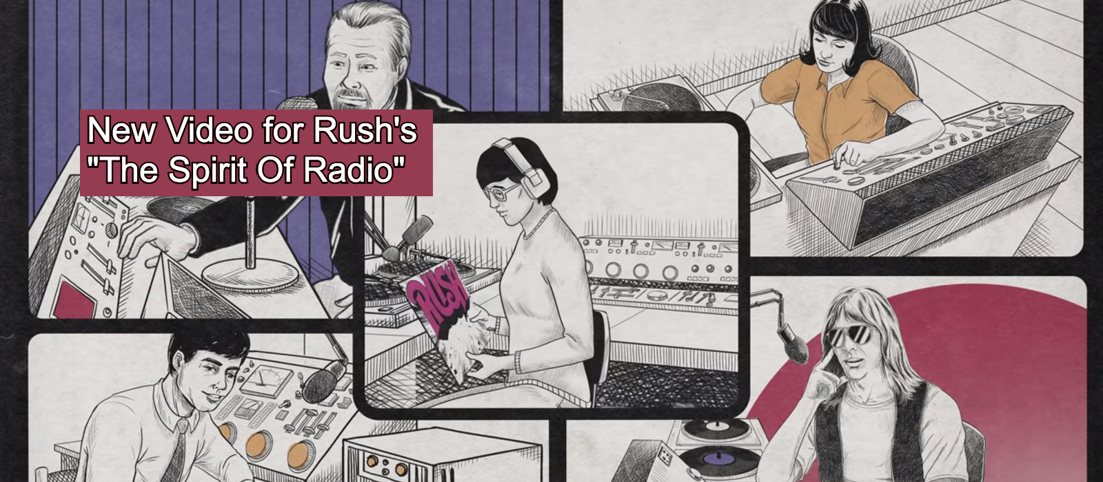 """Rush's new animated video for """"Spirit Of Radio"""" showing various Radio DJs of different background playing records"""