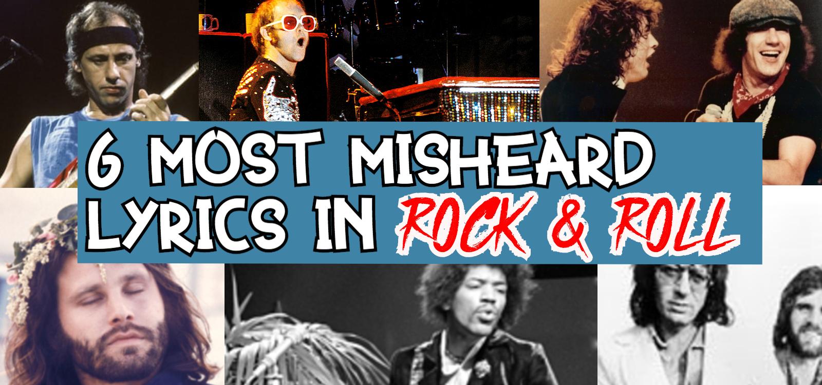 A montage of Jimi Hendrix, Jim Morrison, Mark Knopler, Elton John, Angus Young and Brian Johnson