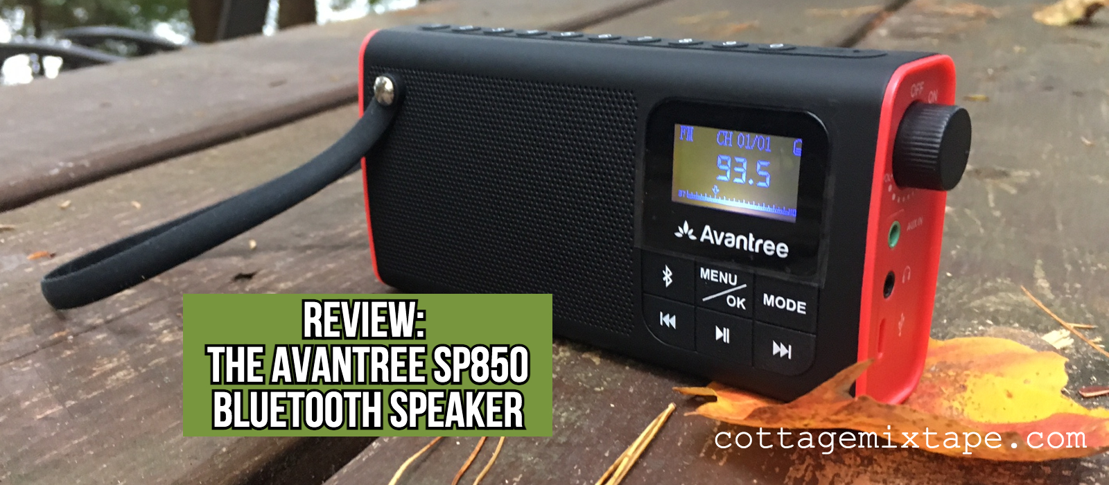 Avantree SP850 Bluetooth Radio Speaker on a outdoor table in radio mode on 93.5