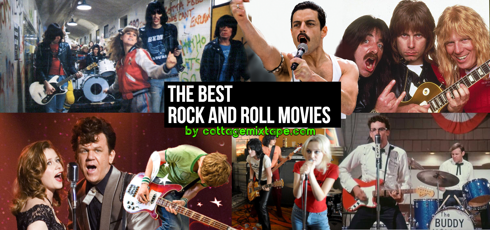 Movie montage with Rock N Roll High School, Bohemian Rhapsody, Spinal Tap, Buddy Holly Story, The Runaways, Scott Pilgrim VS The World and Walk Hard