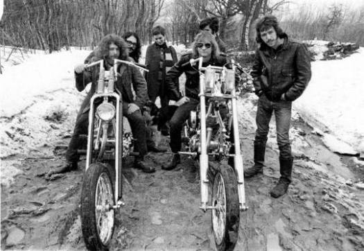 """Alternate photo from James Gang """"Rides Again"""" photo shoot by Tom Wright featuring the bike owners and friends."""