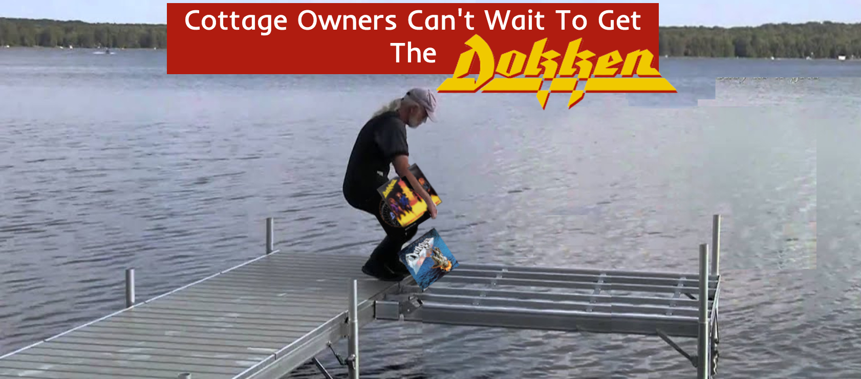 Older man carrying out Dokken records to the incomplete end of the dock. Clearly a dock piece was replaced in photoshop
